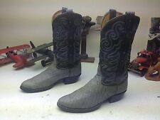 VINTAGE 8501 DISTRESSED OLD TONY LAMA GRAY LEATHER TRAIL BOSS POWER BOOTS 10 M