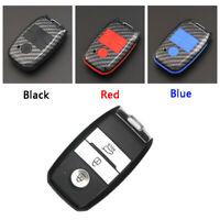 Carbon Fiber Design Shell+Silicone Cover Holder Fob Case For Kia Remote Key