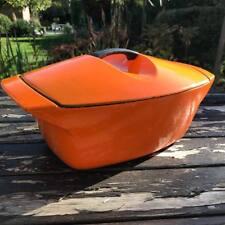 French 1950s Le Creuset 4.5L Orange Cast Iron Oven Casserole Dish Raymond Loewy