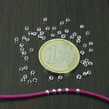 500 Tubos Chafas 2,5mm T377C Agujero 1,8mm Plata Perles Perlen Spacer Argento