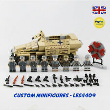 Ger man Armoured Vehicle & 8pc Soldier WWII Custom Minifigure + FREE LEGO BRICK