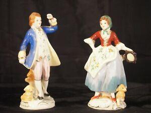 "Occupied Japan 5"" Pair Colonial Dress Figurines Gentleman Lady porcelain"