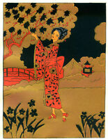 1930s French Pochoir Colored Print Geisha on Bridge Red Kimono Cherry Blossom