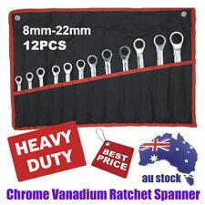 8MM-22MM 12Pcs Ratchet Spanner Set Metric ND-0326 + Rolling Bag Hand Tool Kit AU