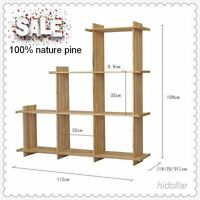 USA PINE TIMBER STEP BOOK SHELF BOOKCASE DISPLAY  6 CUBE 112X110CM FREE STANDING