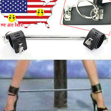 Adjustable PU Cuffs Restraint Collar Fetish Stainless Steel rings SpreaderBar