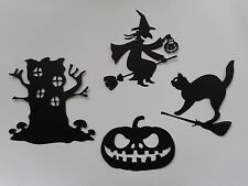 Halloween Witch Cat Broomstick Pumpkin Tree House Paper Die Cuts x 3 Sets