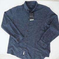 SPORTSCRAFT Mens Shirt Size 2XL NWT Reg Fit Long Sleeve 100% Cotton Blue RRP$110