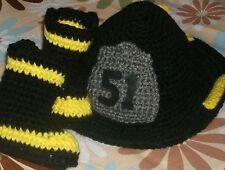 Custom Handmade Crochet Infant Baby Firefighter Fireman Booties & Baby Helmet