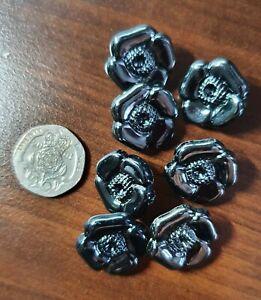 7 x Black Flower Shank Buttons 20mm,  cardigans list no 57