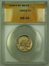 1936-D Buffalo Nickel 5c ANACS MS-65 (L) (WW)