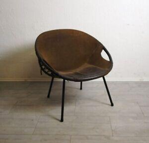 Lusch Schalensessel Sessel Leder 70er Jahre Loungesessel Rauhleder Ballonsessel