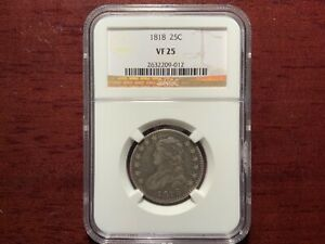 1818-P Capped Bust Silver Quarter 25C NGC VF 25 Type 1, Large Size RARE