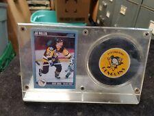 Autographed Signed JOE MULLEN Pittsburgh Penguins Hockey Puck w/ Display Holder