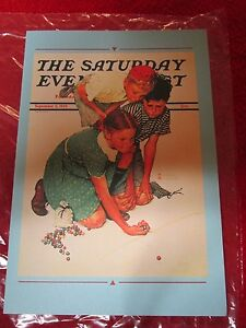1939 GREETING CARD KNUCKLES DOWN MARBLE BY NORMAN ROCKWELL SATURDAY EVENING POST