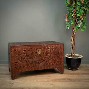 Attractive Large Vintage Oriental Dragon Carved Camphorwood Chest Trunk