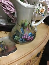 """Antique Style """" Vineyard Blessings """" Pitcher Painted Grapes W/Matching Tray"""