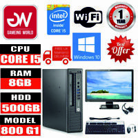 "HP Elitedesk 800 G1 Intel i5-45705 8GB 500GB SSD Win10 PC Bundle 22"" Monitor"