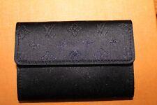 Auténtico Vintage LOUIS VUITTON Negro Satinado Monograma Billetera Cartera Cuero Raro