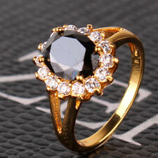 Black sapphire 24k yellow gold filled fantastic nice-looking ring Sz5/J-Sz9/R