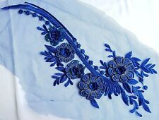 Large 3D Royal Blue Sequined Floral Embroidery Applique Motif Lace Sewing EB0284