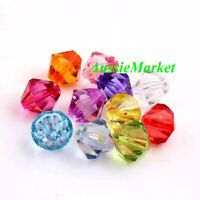 50 x bicone beads acrylic plastic mixed colours necklace bracelet making 8mm