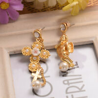 Baroque Style Retro Earrings Vintage Lace Bowknot Angel Asymetric Pearl Earring
