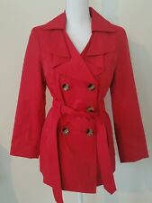 London Fog Womens Red Double Breasted Pea Coat Tie Waist Sz S