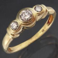 Classic Low 3 Across 9k Solid Yellow GOLD DIAMOND TRILOGY ETERNITY RING Sz L1/2