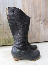 El Naturalista Knee High Black Woven Leather Boho Elf Gypsy Festival Boots 39/8