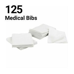 125 Disposable Dental Bibs Tattoo Medical Patient Waterproof White Spa Vet UK