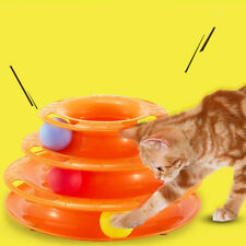 3-Layers Intelligence Pet Toy Crazy Play Ball Tray Cat Litten Toy Orange