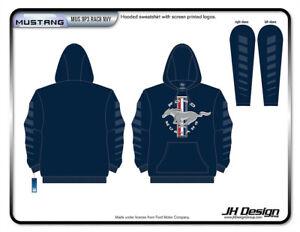 Mens Ford Mustang Hoodie Pullover Navy Blue Sweatshirt MUS9P3RAC8NVY