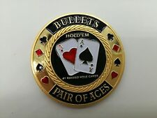 Bullets Pair Of Aces Golden Casino Poker Chip Coin Card Guard Protector