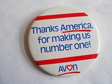 Cool Vintage Avon Cosmetics Thanks America for Making Us #1 Advertising Pinback