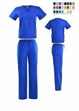 Unisex Stretch Scrub Sets Solid V-Neck Top Cargo Pant Men Women Nursing Uniform