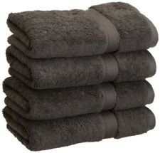 4-pc Charcoal Gray Superior 900 GSM 2-Ply Egyptian Cotton Hand Towels
