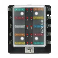10 Way Blade Fuse Box Block Holder Car Marine Warning Light ATC LED 12V/24V