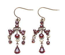 Exquisite & Splendid-ruby Red Diamante/Rustic Bronze Metal Hook Earrings(Zx257)