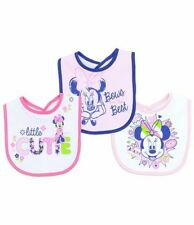 NEW DISNEY BABY MINNIE MOUSE 3 PACK BABY PINK WHITE & BLUE LITTLE CUTIE BIB
