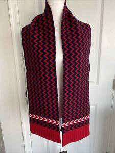 NWT Gucci Scarf Zaggede Long Wool Red Navy 180cmx20cm