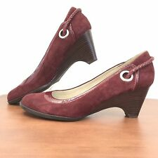 SPERRY TOP SIDERS Burgundy Suede Leather Slip On Wedge Heels Women's Size 10 M