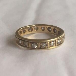 Antique Diamond Eternity 18k Yellow Gold Ring