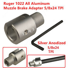 Silver Ruger 1022 10-22 Muzzle Brake Adapter 5/8x24 Thread,Three Lock Nut