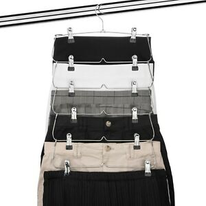 USTECH 6 Tier Skirt Hanger Trouser Skirt Pants With Clips Wardrobe Space-Save