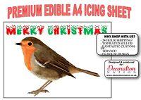 Merry Christmas - Robin A4 ICING Edible Cake Topper Decoration Xmas Cute Bird