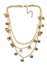 Fashion Forward Gold Colour Three Layers Necklace w Small Circular Plates (T409)