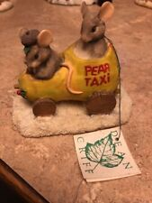 Charming Tails Silvestri Retired 90's Pear Taxi Mice In Car #87/565