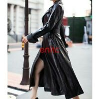 Chic Ladies Pu leather Coat Fashion Knee Long Trench Jacket Motor Parka Outwear