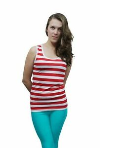 LADIES RED AND WHITE STRIPED VEST TOP FOR Book Day & FANCY DRESS